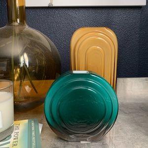 West Elm teal beveled glass vase